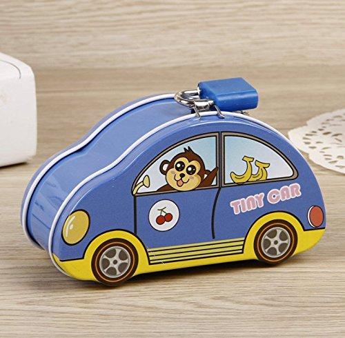 Dreamer Life Muebles para niños Bancos de Dinero Colorful Tiny Car Piggy Bank Caja de Almacenamiento de Lata Creativa (Azul)