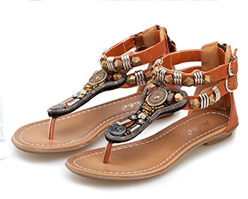 Aisun Womens Boho Beaded Open Split Toe Covered Heels Flat Beach Thong Flip Flop Sandals Shoes Brown 54dQbf9qgR