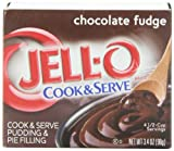 Jell-O Cook & Serve Pudding & Pie Filling, Chocolate Fudge, 3.4-Ounce Boxes (Pack of 24)