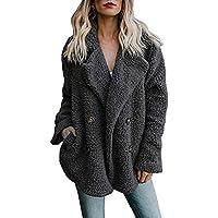vermers Clearance Womens Fleece Open Front Coat, Women's Casual Jacket Winter Warm Parka Outwear with Pocket Overcoat