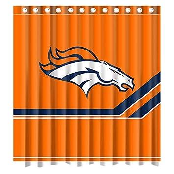 Custom Denver Broncos Logo Wasserdicht Polyester Duschvorhang Aus Stoff Standard Grosse 66 W