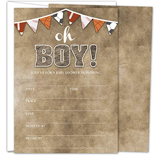 - Gooji Sports Oh Boy Baby Shower Invites - Large 25pcs Double Sided It's a Boy Invitations With 25 Envelopes - Invite Cards For Baby Shower