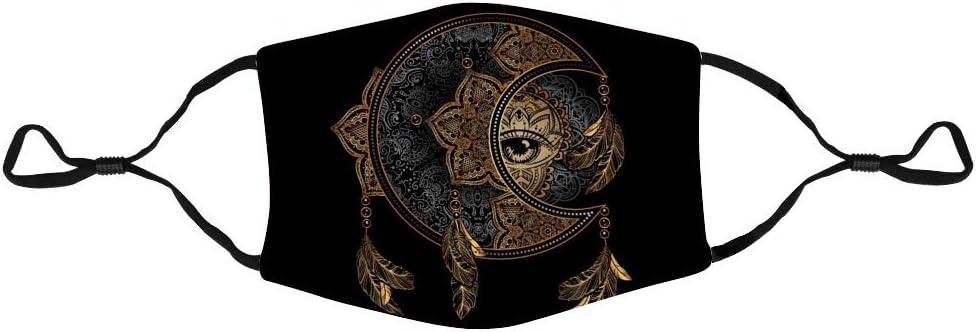 Unisex Pickkids Mundschutz Goldener Mond und Sonne mit Mandala Schutzh/ülle f/ür den Au/ßenbereich Aktivkohlefilter Anti-Staub wiederverwendbar 1 St/ück