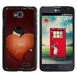 Paccase / SLIM PC / Aliminium Casa Carcasa Funda Case Cover - Love I Love You - LG Optimus L70 / LS620 / D325 / MS323
