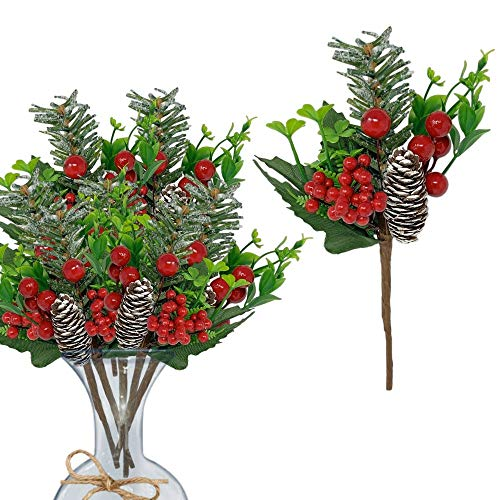 Berry Picks 10 Piece Set-Snow Tipped Pinecone Red Berries Floral Sprays Flexible Bendable Stems - DIY for Seasonal Christmas Crafts Party Festive Home Décor