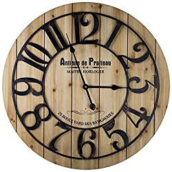American Art Décor Wood and Metal French Country Round Analog Wall Clock Iron Numbers Battery Operated Antoine de Praiteau Kitchen Living Room Dining Room Decor