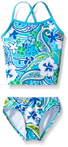 (Kanu Surf Little Girls' Alexa Beach Sport 2-Piece Banded Tankini Swimsuit, Summer Dream Blue Paisley, 6)