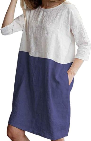 Playa Vestidos de Mujer Suelto Casual Lino et Algodón Transpirable Morbuy 3/4 Vestido Verano Elegante Fiesta Flojo Talla Grandes hasta la Rodilla Vestidos con Bolsillos: Amazon.es: Ropa y accesorios