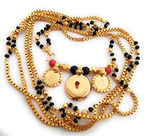 Radha's Creations Traditional Mangalsutra Chain with Black Beads and 2 Lakshmi Coins 26 inch Length One Gram Gold Plated for Women and Girls (B0775ZGKT5) Amazon Price History, Amazon Price Tracker