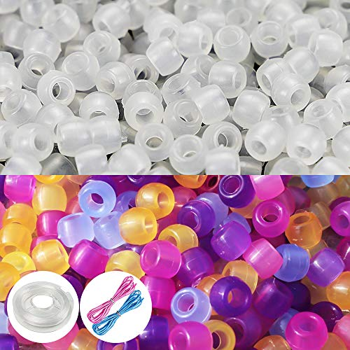 Quefe 1000 Pcs UV Beads Color Changing Sun Beads Reactive Plastic Solar Beads with Elastic Crystal String Cord for Jewelry Making DIY Necklace -