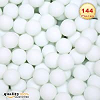 PMLAND 144 Washable Plastic Pong Game Balls Bulk for Table Tennis Carnival Pool Games Party Decoration White Color 38mm