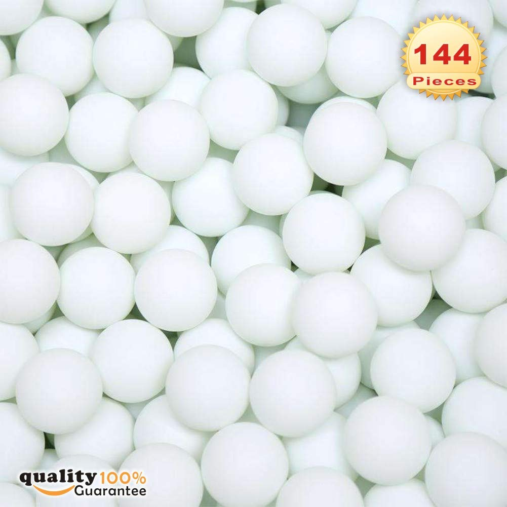 PMLAND 144 Washable Plastic Pong Game Balls Bulk for Table Tennis Carnival Pool Games Party Decoration White Color 38mm by PMLAND