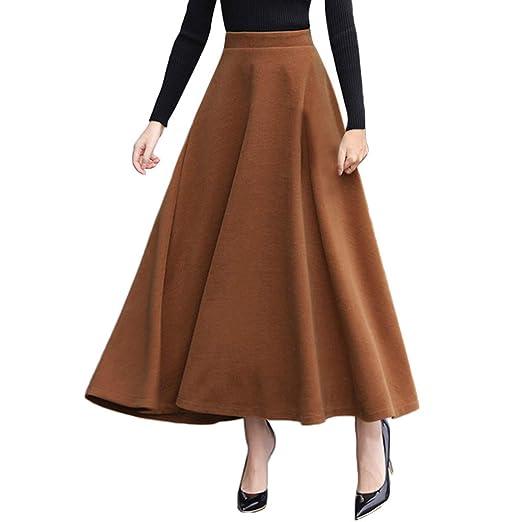 VOVOL falda larga de lana sintética para mujer, color liso ...
