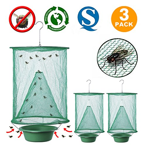 Non Toxic Fly Trap Hanging Folding Reusable Drosophila Net Catcher Cage Traps for Indoor and Outdoor Use 3 Pack