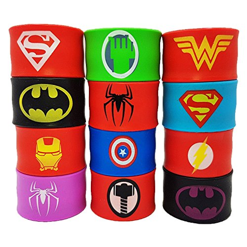 Superhero Slap Bracelets for Kids Boys & Girls Birthday Party Supplies Favors Wristband Accessories Wrist Strap (12 pack)