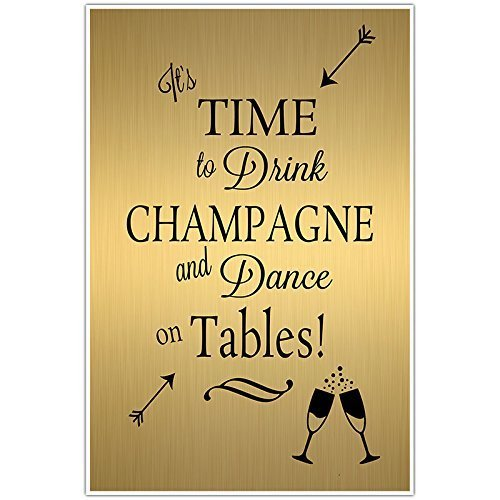 Gold and Black Drink Champagne Wedding Sign Poster
