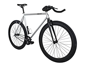Projekt Fixie - Steel Stealth Fixed Gear Bike with Pursuit Bullhorn Handlebar - Silver, 57cm