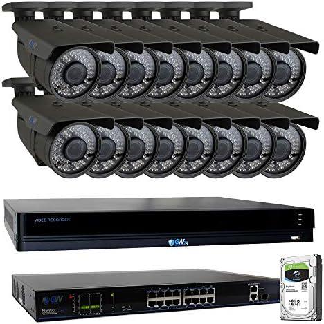 GW 16 Channel 4K NVR 8 Megapixel H.265 Video PoE Security Camera System – 16 x 8MP 2160P Weatherproof 2.7-13.5mm Varifocal UltraHD 4K IP Bullet Cameras, 196ft IR Night Vision, Pre-Installed 4TB HDD