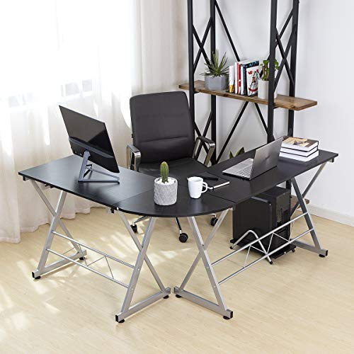 Pamapic DNZ-H L Shaped Computer Home Office Corner Desk with Sliding Keyboard Trey and CPU Stand (Wood & Metal), Black (Metal Corner Computer Desk)