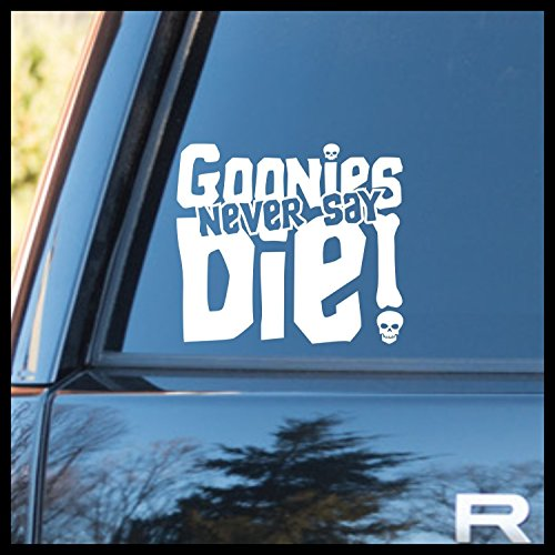 e Vinyl Decal | Goonies never Say Die Mikey Truffle Shuffle Chunk One Eyed Willy Pirate Jolly Roger Astoria | Cars Trucks Vans Laptops Cups Tumblers Mugs | Made in the USA ()