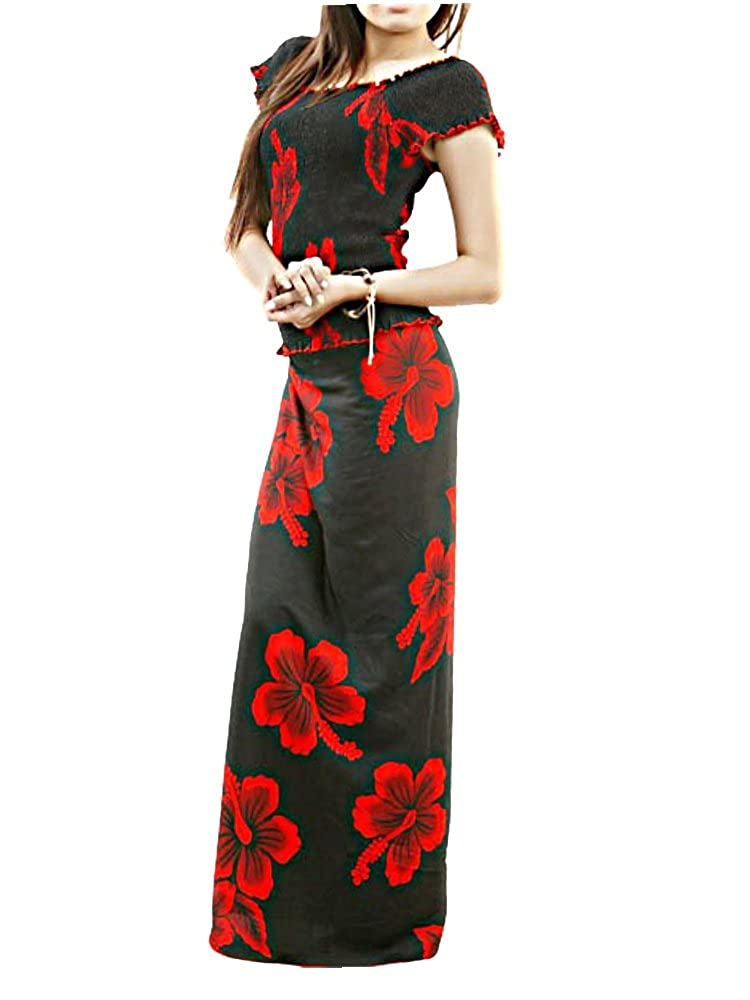 0bfd66a71ce7 HAWAIIAN RED HIBISCUS FLOWERS BLACK LONG SKIRT & TOP SET (FAF16) ONE SIZE  (See Measurements) at Amazon Women's Clothing store: