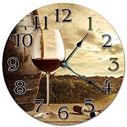 10.5 WINE GLASS AND WINE BARREL OVERLOOKING VINEYARDS Clock - Large 10.5 Wall Clock - Home Décor Clock