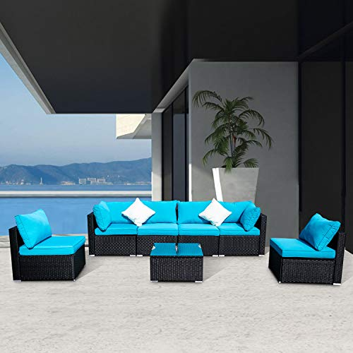 DOIT Outdoor Rattan Patio Garden Sofa,Wicker Patio Sectional Furniture Sofa Outside,Party Sofa Conversation Set with Cushions and Glass Coffee Table 7 Pcs Wicker Sofa Sets Blue
