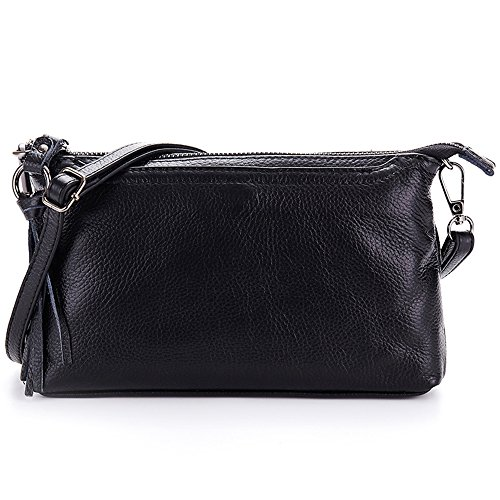 Lecxci Womens Small Leather Smartphone Crossbody Bag, Zipper Clutch Wallet Purse for Women Teen Girls (Black)