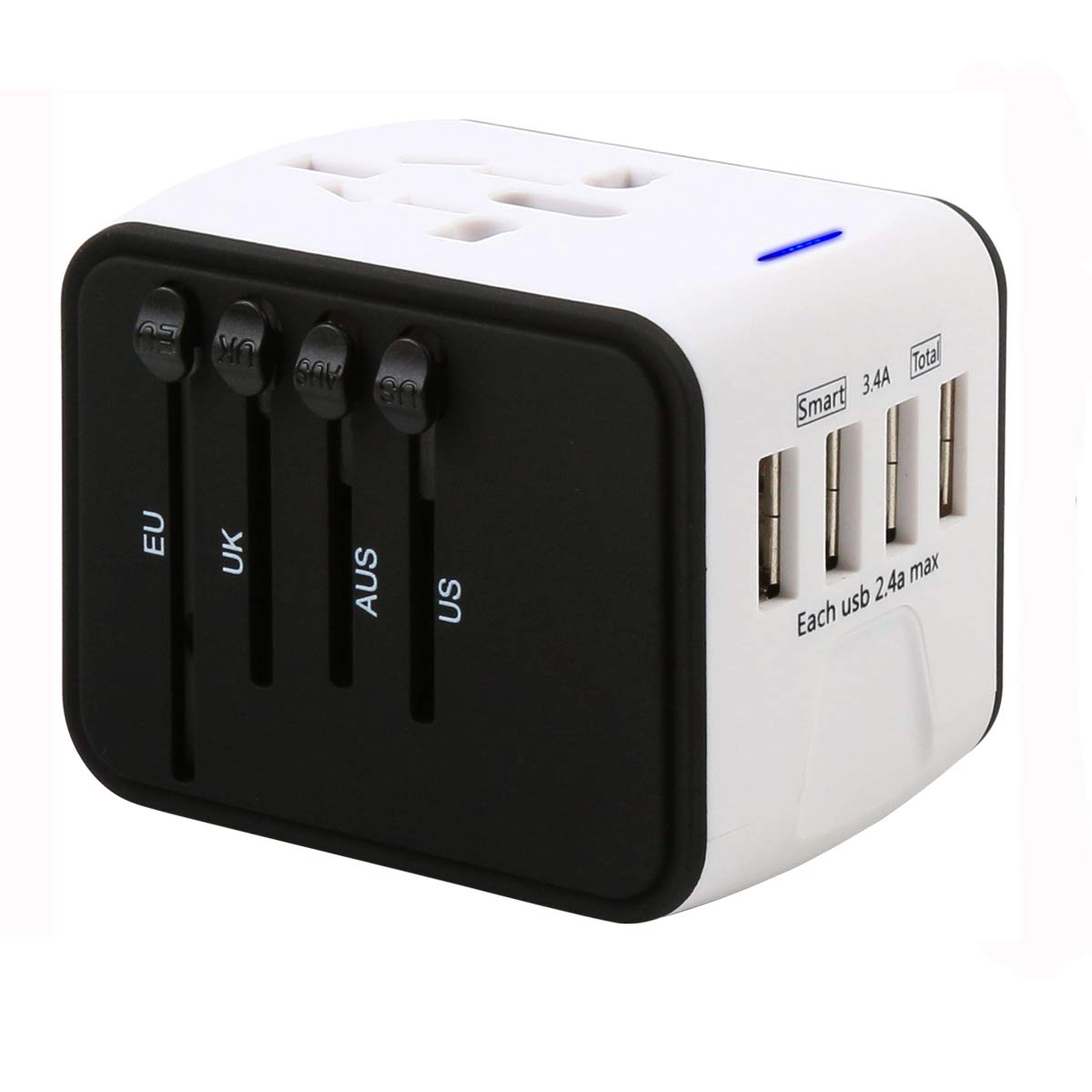 ASKALI Outlet Converter Plug Adapter for Worldwide Travel - Universal 4 USB Ports Wall Charger for Andriod Apple Phone US UK AU EU JP - World Multi Plugs Converter, NOT Convert Voltage (White)