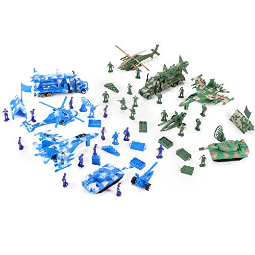 Action Figures Army Men Soldier Military Playset with Scaled Vehicles (52 pcs)