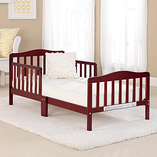 Big Oshi Contemporary Design Toddler & Kids Bed - Sturdy Wooden Frame for Extra Safety - Modern Slat Design - Great for Boys and Girls - Full Bed Frame With Headboard, Cherry