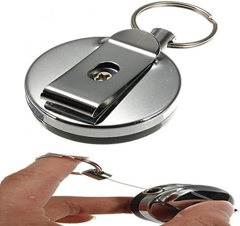 TOOGOO R Llavero metalico retractil tarjeta de Soporte de la insignia de acero Llavero clip de traccion de la banda de anillo de retroceso