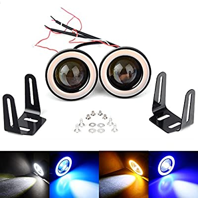 """2.5/3/3.5"""" Car LED Fog Light Projector White COB Angel Eyes Halo Ring DRL Driving Bulbs White/Blue/Ice Blue/Yellow(Best Value on the market)"""