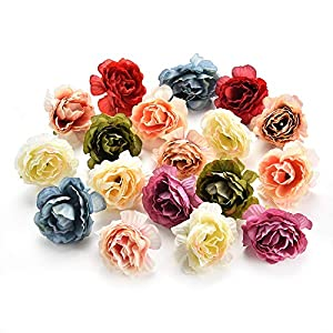 Artificial Flower Peony Flower Heads Decorative Silk Flower Bulk Scrapbooking Home Wedding Birthday Fake Flower Party Decoration Supplies 30PCS 4.5cm 50