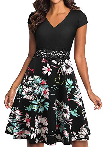 (YATHON Office Dress Women Vintage Classic V Neck Red White Black Floral Patchwork Embroidery Knee Length Aline Nightgown Retro Dresses for Juniors (S, YT009-black Floral 02))