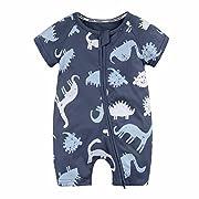 Fineser Baby Boys Girls Short Sleeve Dinosaur Zipper Romper Jumpsuit Infant Toddler Playsuit Outfits 6-24M (Navy, 6M)