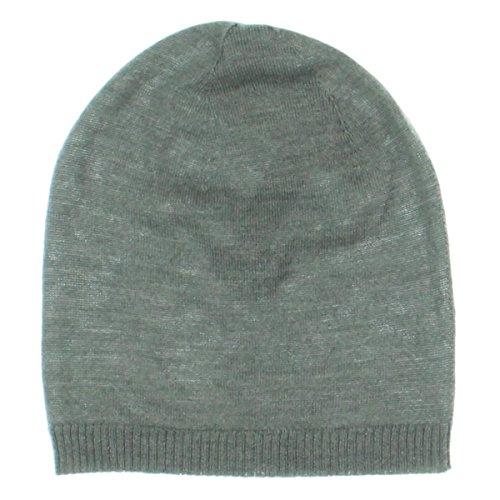 Eileen Fisher Womens Merino Wool Ribbed Trim Beanie Hat Gray (Ribbed Wool Hat)