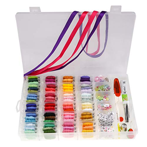 Set of 399PCS - 72 Embroidery Floss Thread with Organizer Storage Box Cross Stitch Kit,Prewound Floss Bobbins,Complete 26 Letter Beads and Ribbons Friendship Bracelet String Kits