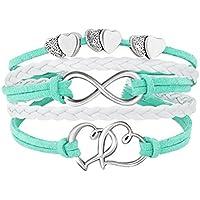 DemiJewelry Infinity Bracelet Green Love Heart Charm Leather Bracelets