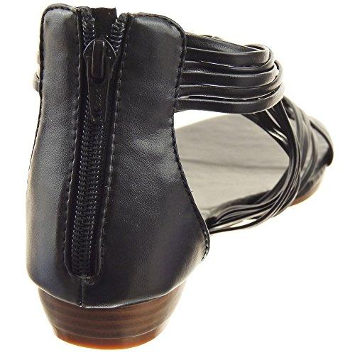 Sopily - damen Mode Schuhe Sandalen Multi-Zaum - Schwarz