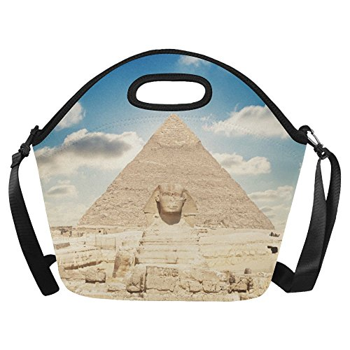 Egyptian Sphinx and Pyramid Neoprene Waterproof Insulated Lunchbox Portable Carry Tote Picnic Storage Bag Lunch box Food Bag Gourmet Handbag For School Work Office (Bowling Quartz Clock)