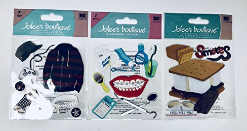 Jolee's Boutique Scrapbooking Stickers Alternative Boy, Braces, Smores Assortment 3pk