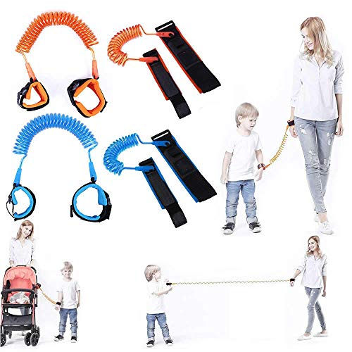 Bellter Correa de seguridad para niño / bebé - Arnés de seguridad para niños / bebés - Muñequera / pulsera de velcro antirrobo antiperdida niño / niña / bebé (naranja, corta de 1.5m) antilost security harness / wristband