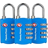 3 Pack TSA Luggage Locks with 4 Digit Combination – Heavy Duty Set Your Own Padlocks for Travel, Baggage, Suitcases & Backpacks - Blue