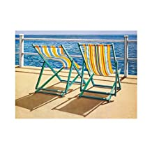 Summer Breeze by Sanders Coastal Landscapes Beaches Chairs Print Poster 19.75x15.75