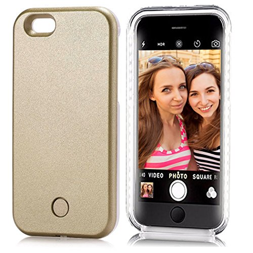 iPhone 6 6s LED Flash Case,Feewer Selfie Phone Case Fab for Selfies/Applying Make-Up/Flashlight/Videos/Facetime, Protects Phone & includes Charger For iPhone 6/6S-Champagne Gold (Crazy Iphone 5 Charger)