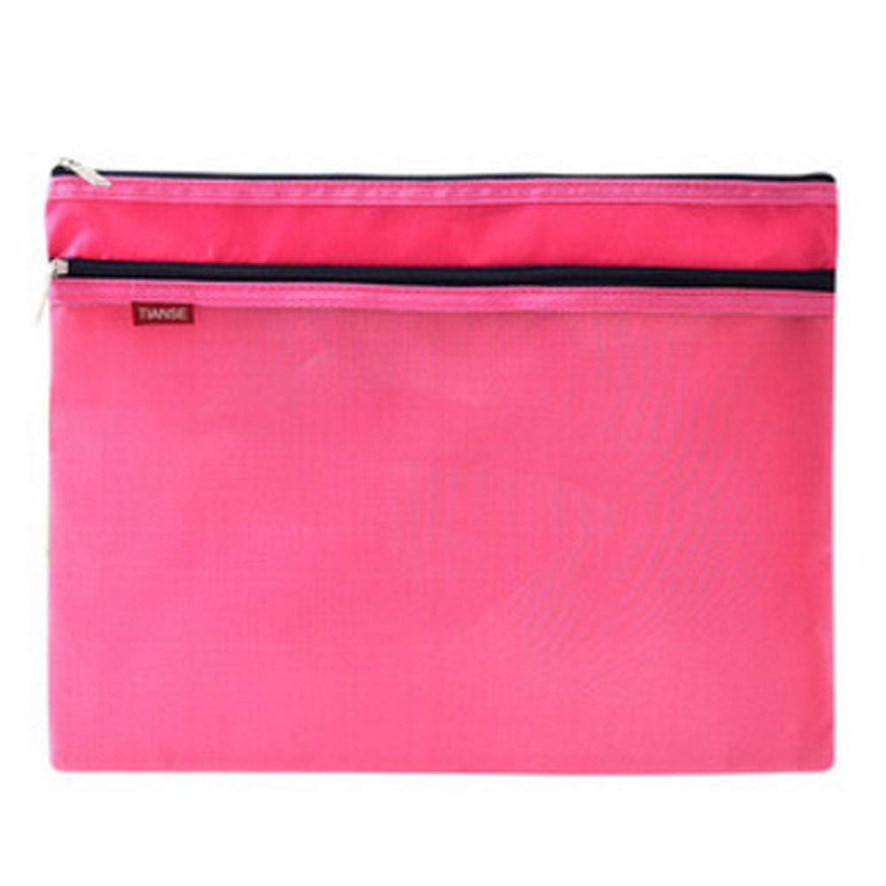 Multifunctional A4 Zip File Folder Mesh Document Bag Storage Pouch with Zipper, Office Stationery,J