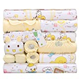 Peak-Peak 18pcs Newborn Baby Clothes Girls Boys Clothing Set Cute infant Outfits Suit (Yellow)