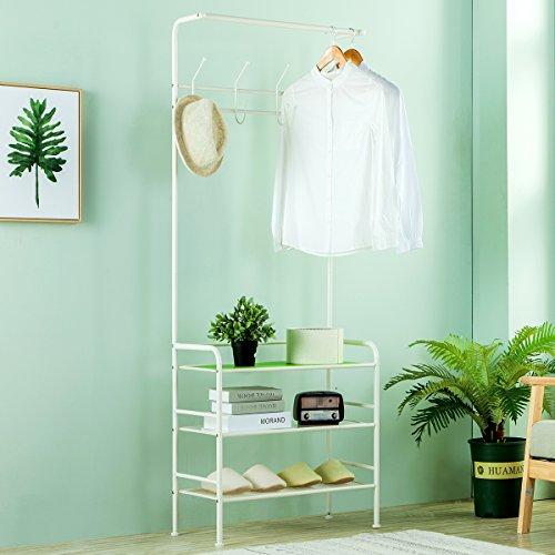 SINGAYE Coat Rack Adjustable Entryway Bench Storage Shelves
