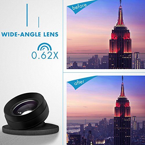 Phone Camera Lens 3 in 1, 20X Macro Lens, 198° Fisheye Lens, 0.62X Wide Angle Lens Clip On Universal HD Cell Phone Lens Kit Compatible Samsung iPhone6S/6Plus/6/Se/5/5S, Android Smartphones and More by COOLOO (Image #3)